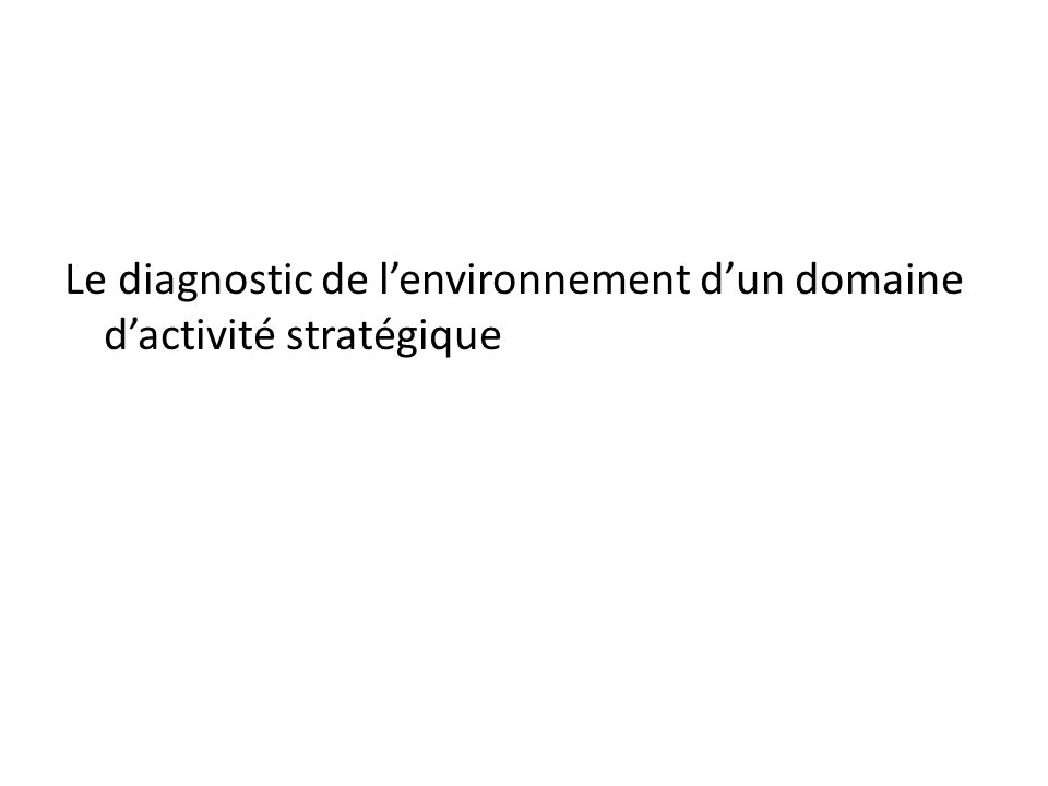 Le diagnostic de l'environnement d'un domaine d'activité stratégique