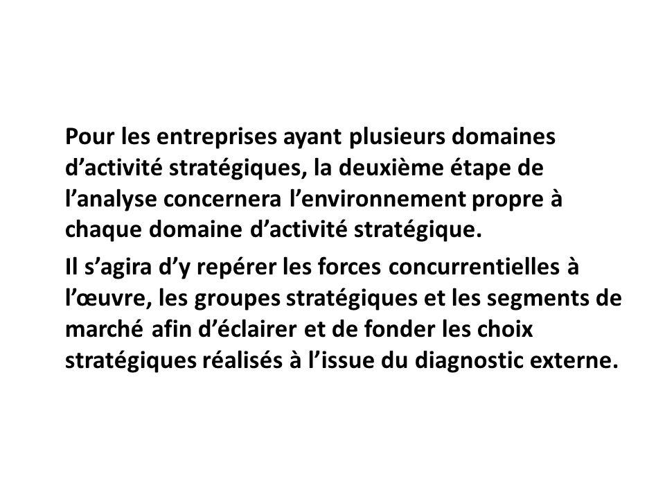 Pour les entreprises ayant plusieurs domaines d'activité stratégiques, la deuxième étape de l'analyse concernera l'environnement propre à chaque domaine d'activité stratégique.