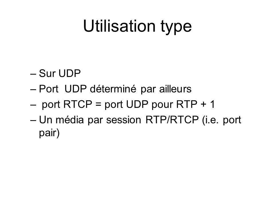Utilisation type Sur UDP Port UDP déterminé par ailleurs