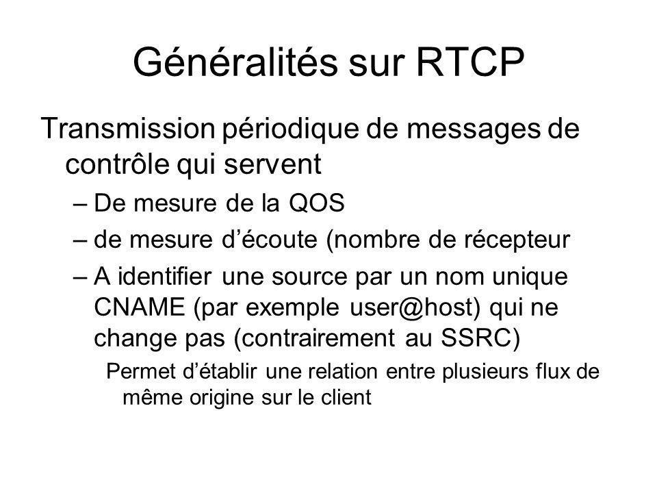 Généralités sur RTCP Transmission périodique de messages de contrôle qui servent. De mesure de la QOS.