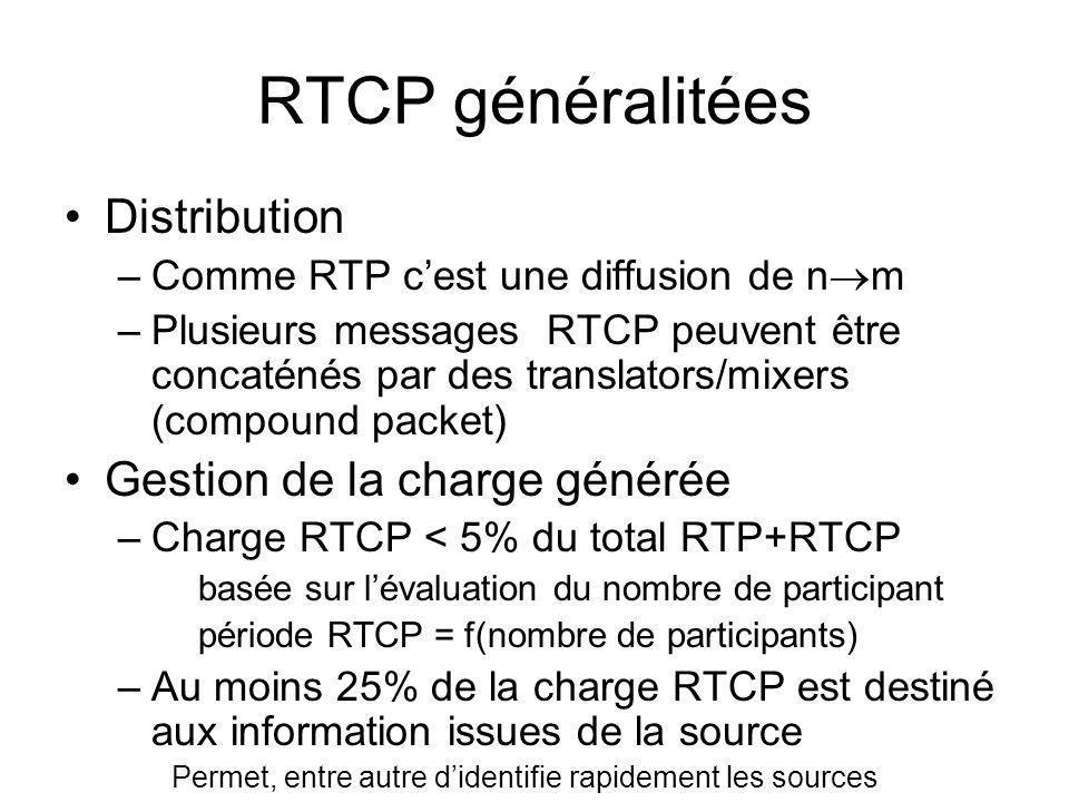 RTCP généralitées Distribution Gestion de la charge générée