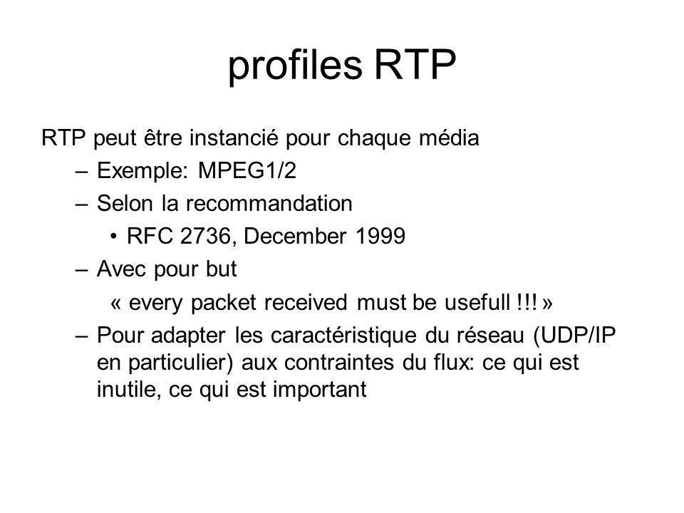 profiles RTP RTP peut être instancié pour chaque média