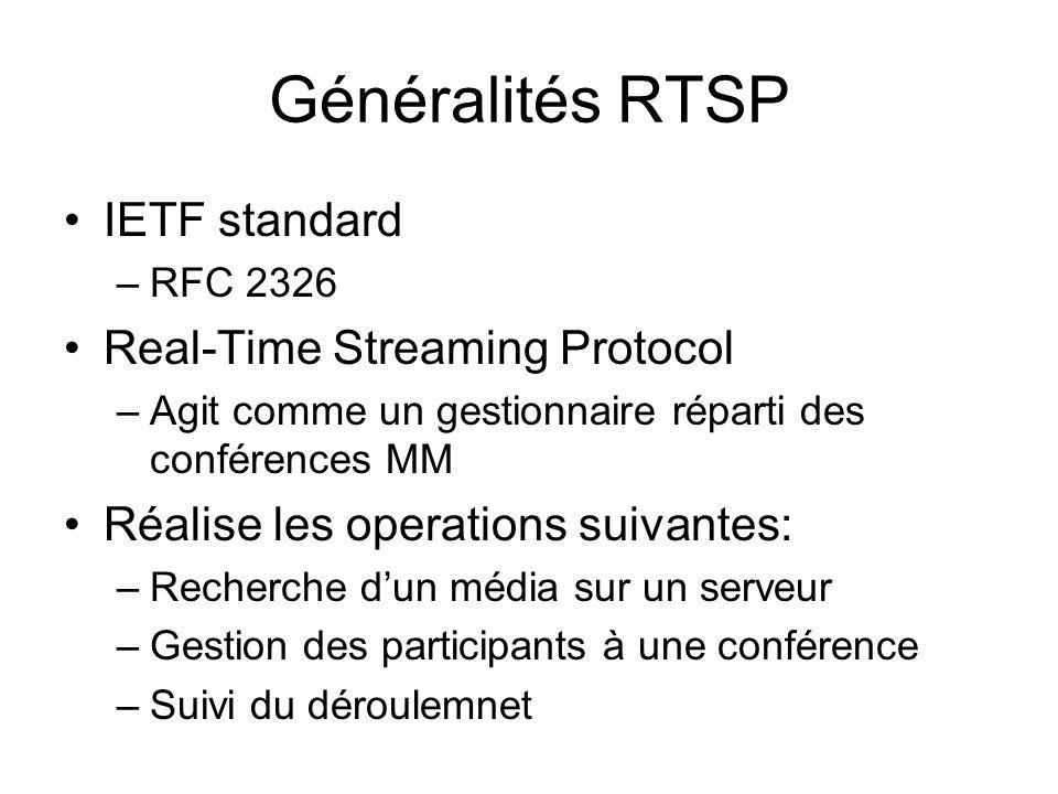 Généralités RTSP IETF standard Real-Time Streaming Protocol