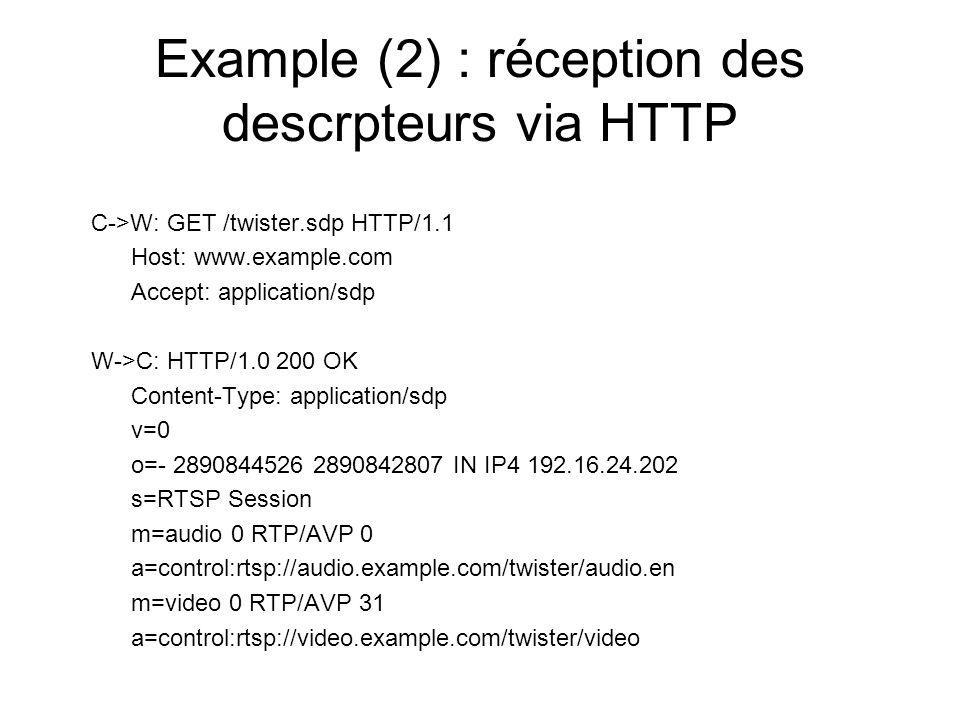 Example (2) : réception des descrpteurs via HTTP