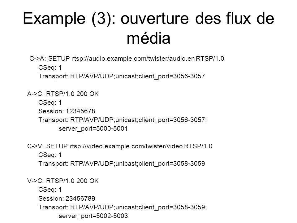 Example (3): ouverture des flux de média