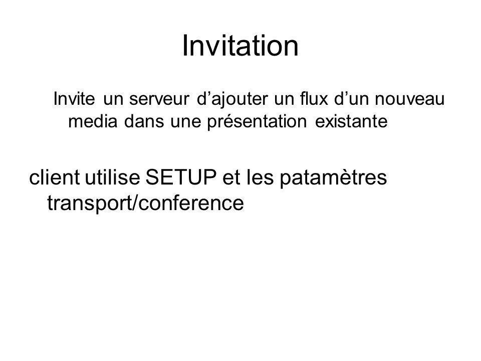 Invitation client utilise SETUP et les patamètres transport/conference