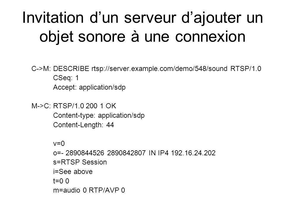 Invitation d'un serveur d'ajouter un objet sonore à une connexion