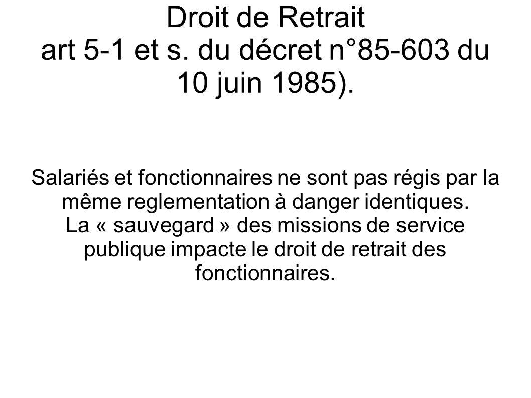 Droit de Retrait art 5-1 et s. du décret n°85-603 du 10 juin 1985).