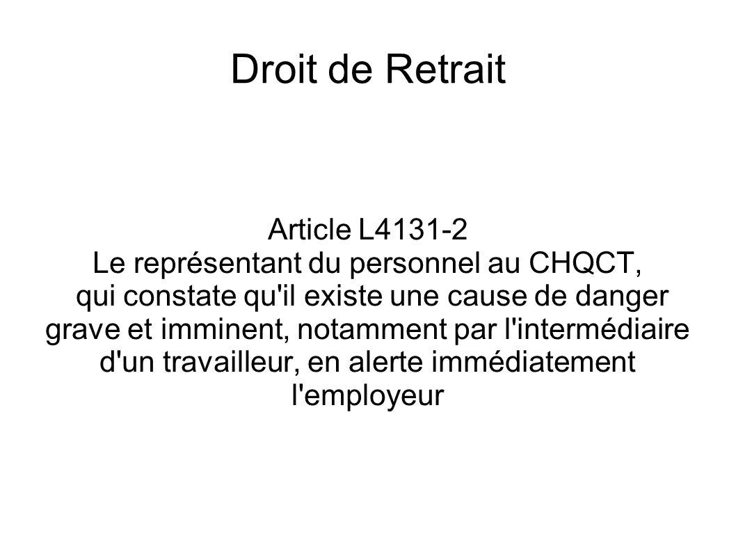 Le représentant du personnel au CHQCT,