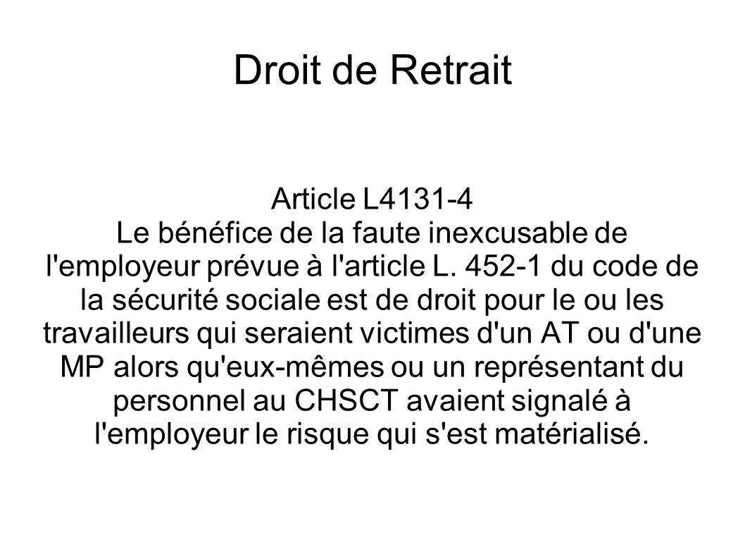 Droit de Retrait Article L4131-4