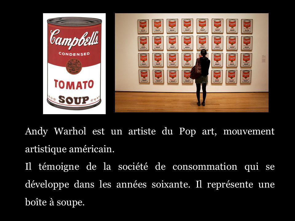 Andy Warhol est un artiste du Pop art, mouvement artistique américain.