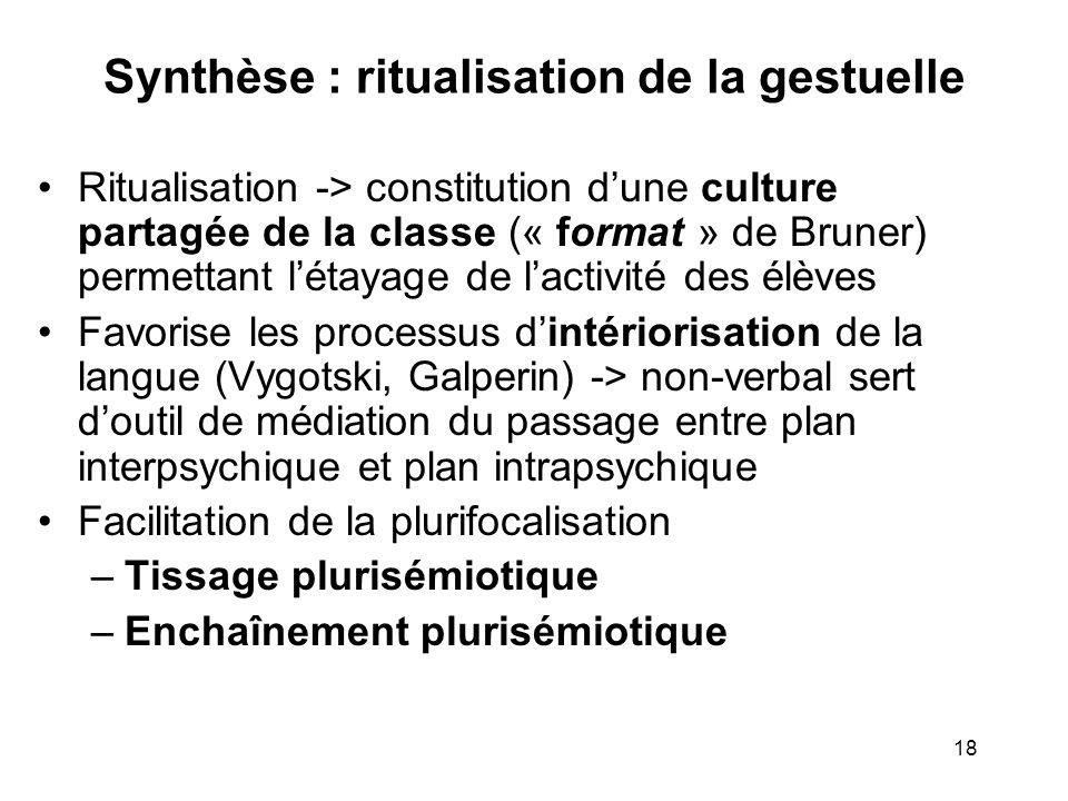 Synthèse : ritualisation de la gestuelle