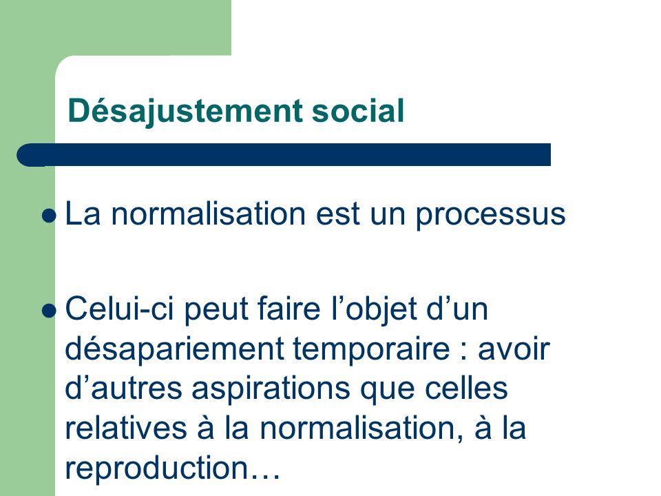 Désajustement social La normalisation est un processus.