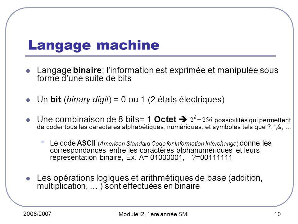 Langage machine Langage binaire: l'information est exprimée et manipulée sous forme d'une suite de bits.