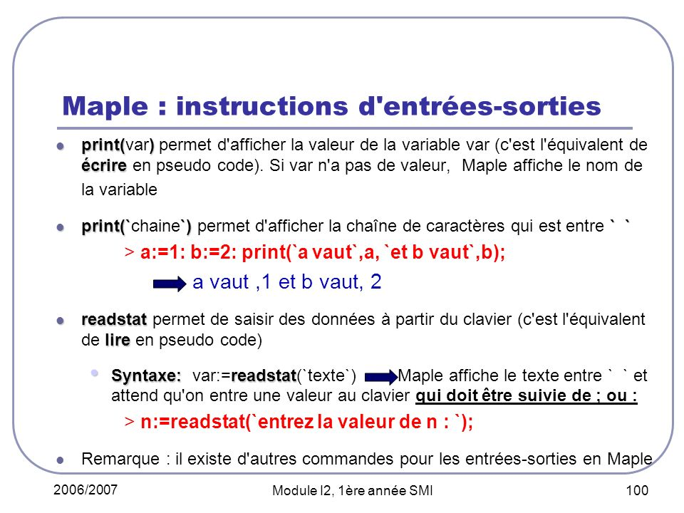 Maple : instructions d entrées-sorties