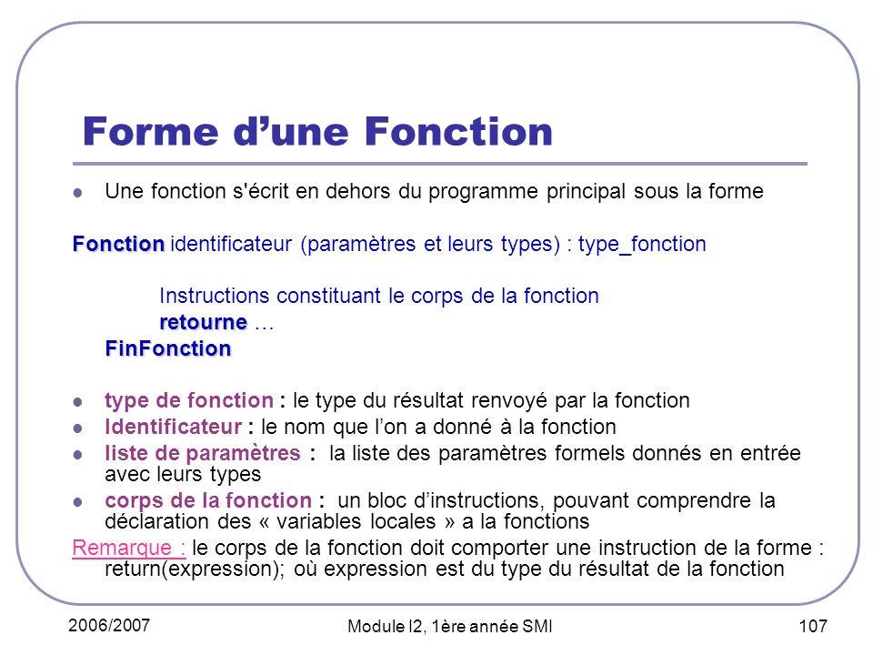 Forme d'une Fonction Une fonction s écrit en dehors du programme principal sous la forme.