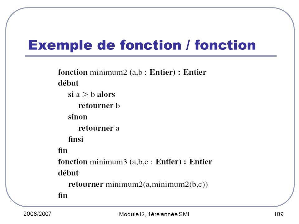 Exemple de fonction / fonction