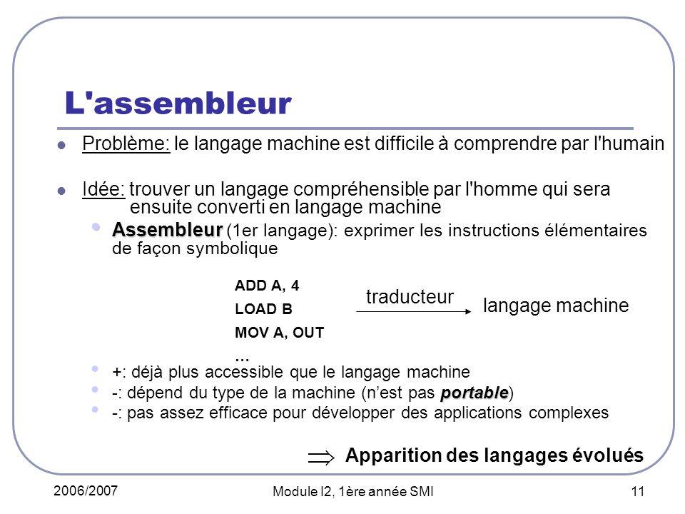 L assembleur Problème: le langage machine est difficile à comprendre par l humain.