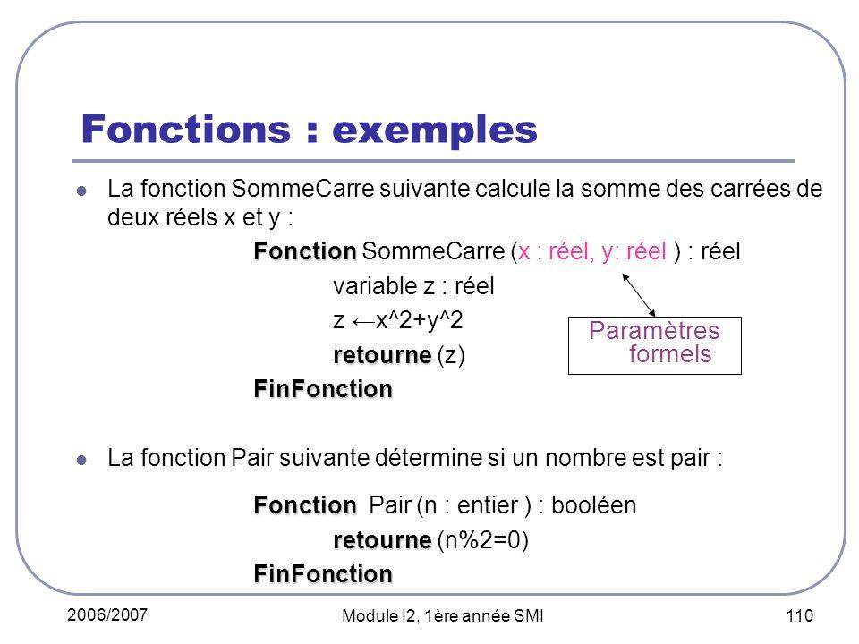 Fonctions : exemples Paramètres formels