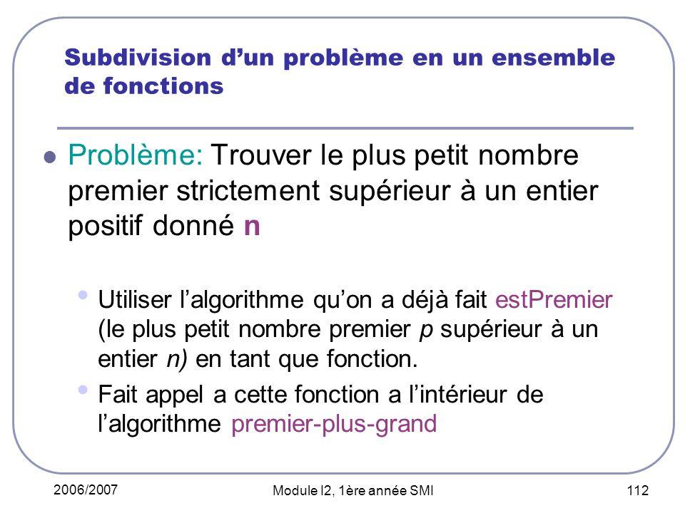 Subdivision d'un problème en un ensemble de fonctions