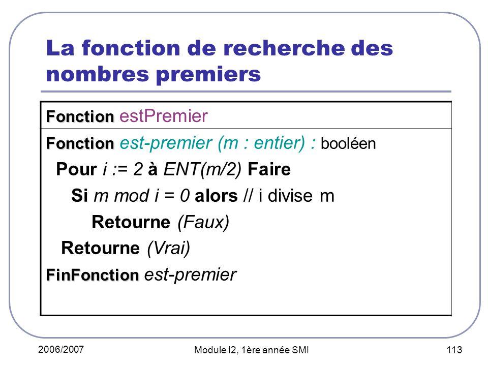 La fonction de recherche des nombres premiers
