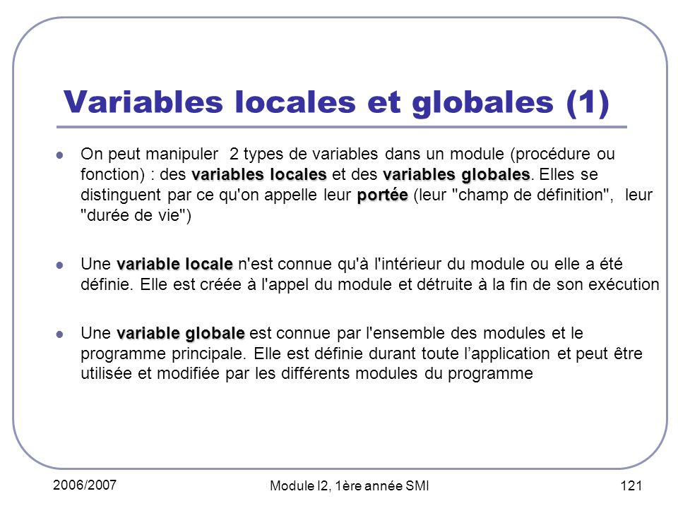 Variables locales et globales (1)