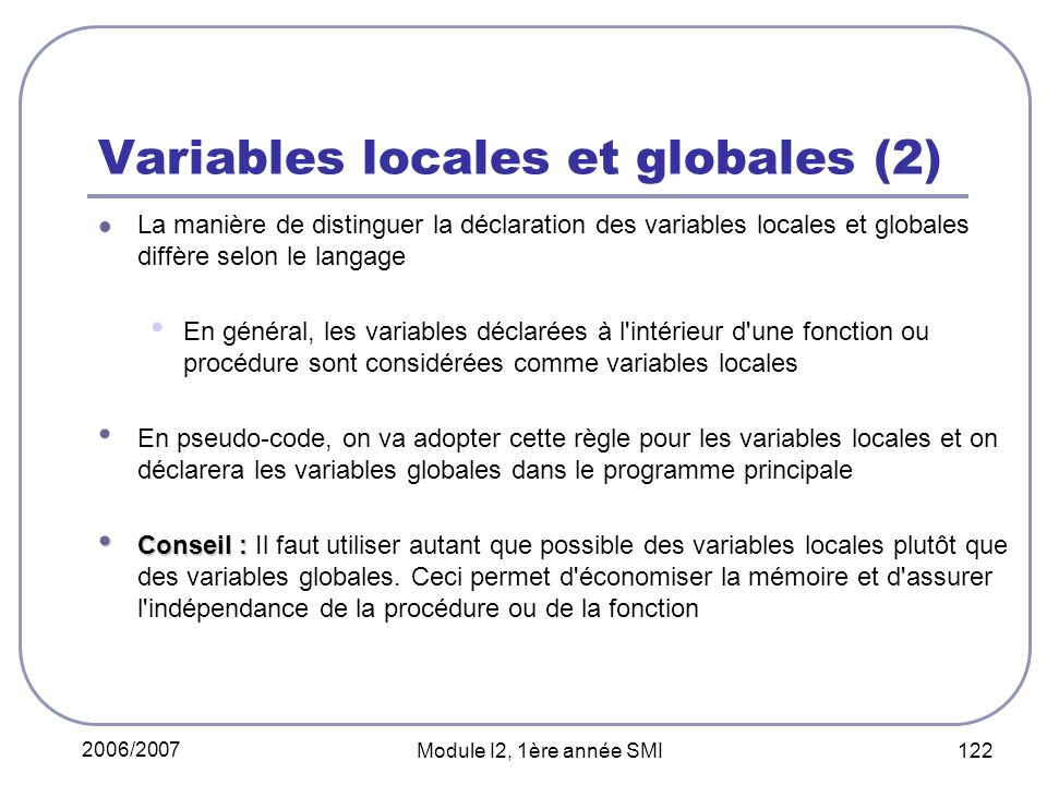 Variables locales et globales (2)