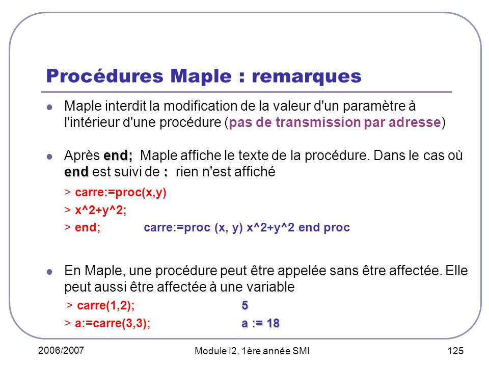 Procédures Maple : remarques