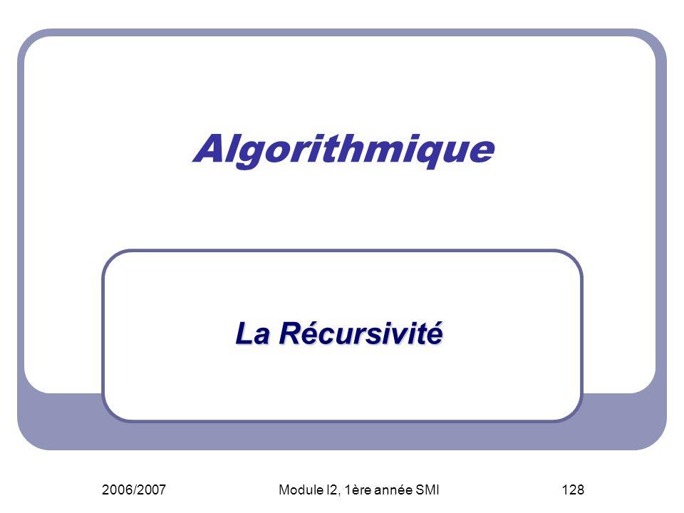 Algorithmique La Récursivité 2006/2007 Module I2, 1ère année SMI