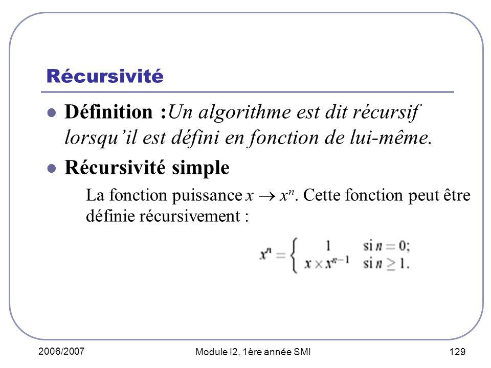 Récursivité Définition :Un algorithme est dit récursif lorsqu'il est défini en fonction de lui-même.