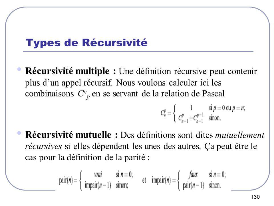 Types de Récursivité