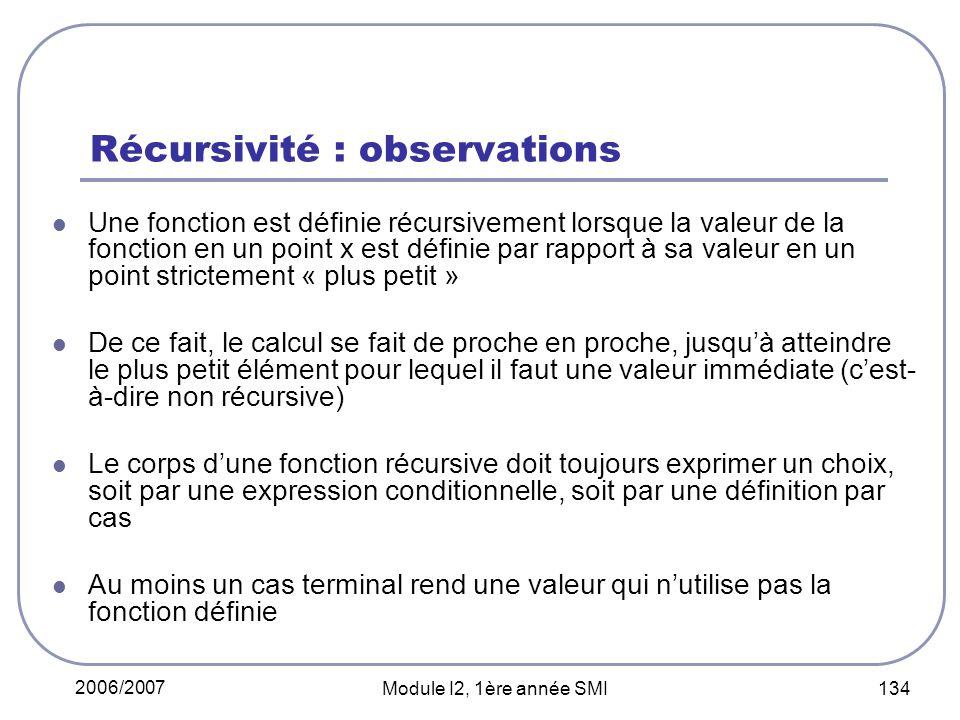 Récursivité : observations
