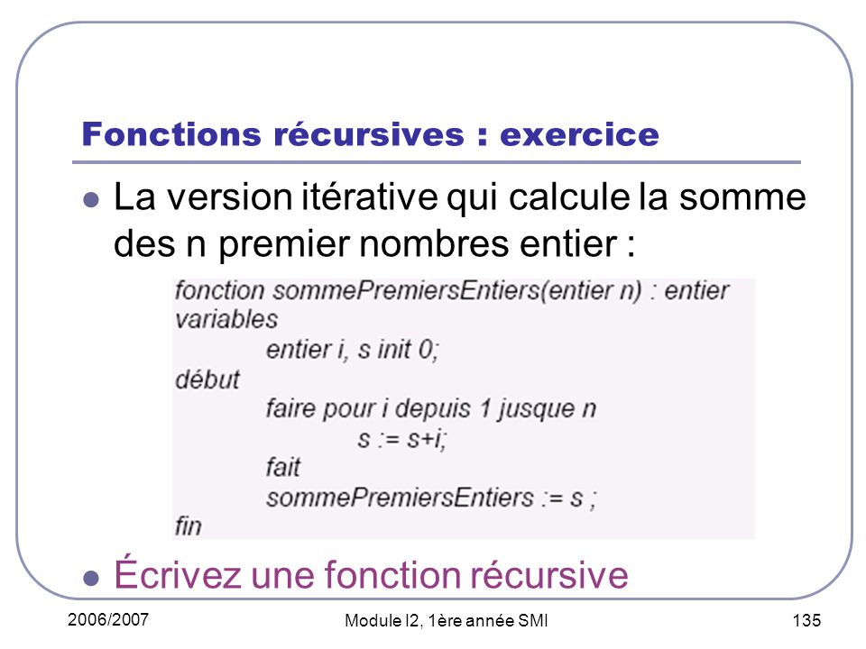 Fonctions récursives : exercice