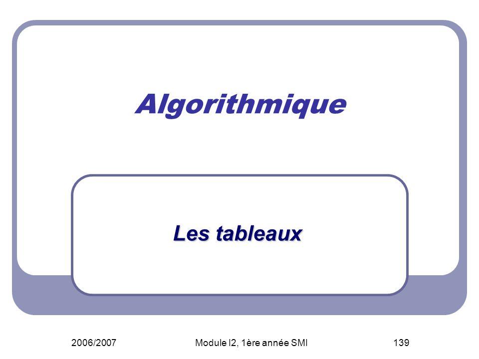 Algorithmique Les tableaux 2006/2007 Module I2, 1ère année SMI