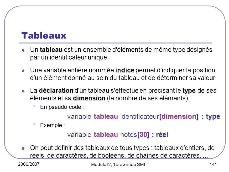 Tableaux variable tableau notes[30] : réel