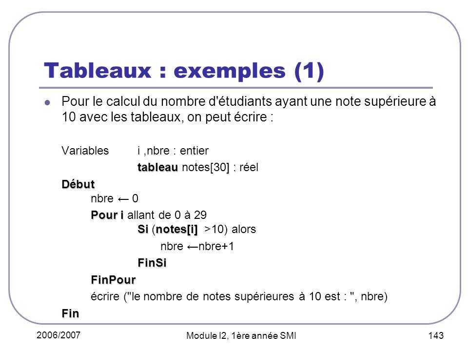 Tableaux : exemples (1) Pour le calcul du nombre d étudiants ayant une note supérieure à 10 avec les tableaux, on peut écrire :