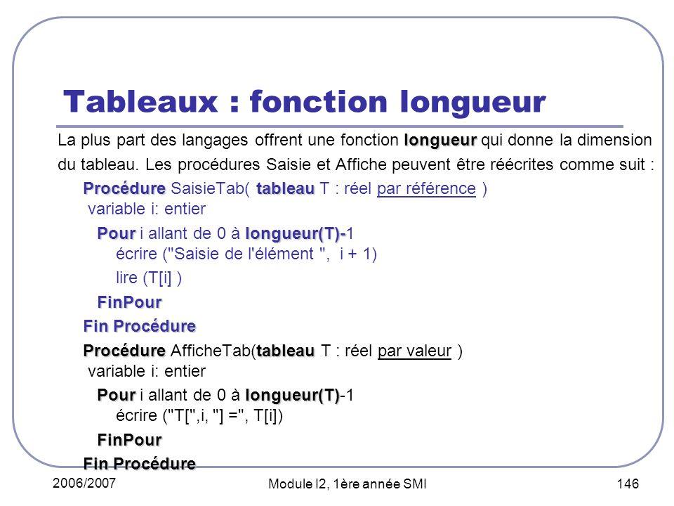 Tableaux : fonction longueur