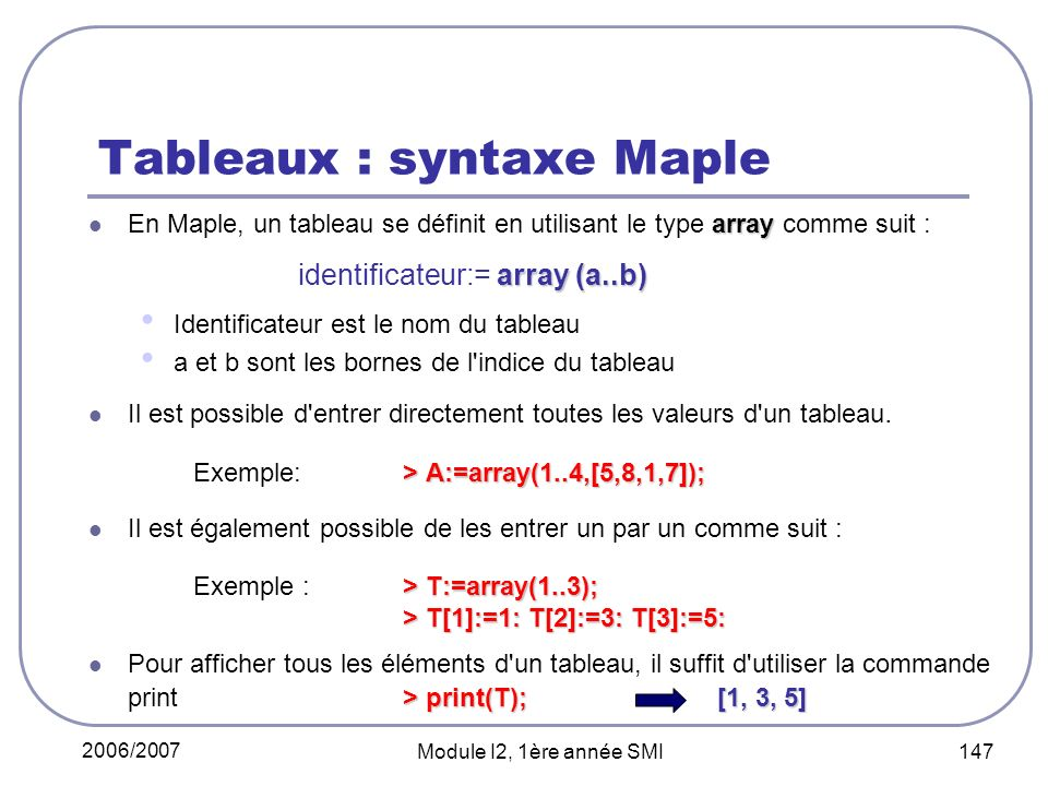 Tableaux : syntaxe Maple