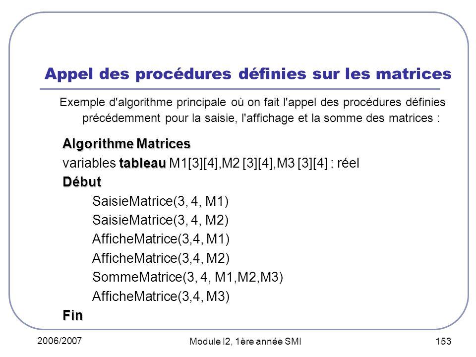 Appel des procédures définies sur les matrices