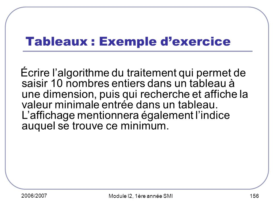 Tableaux : Exemple d'exercice