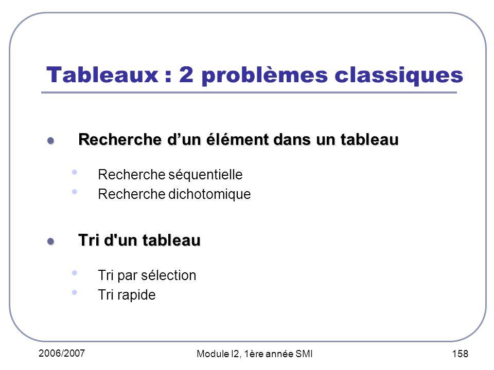 Tableaux : 2 problèmes classiques