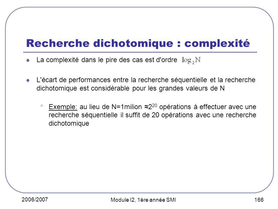 Recherche dichotomique : complexité