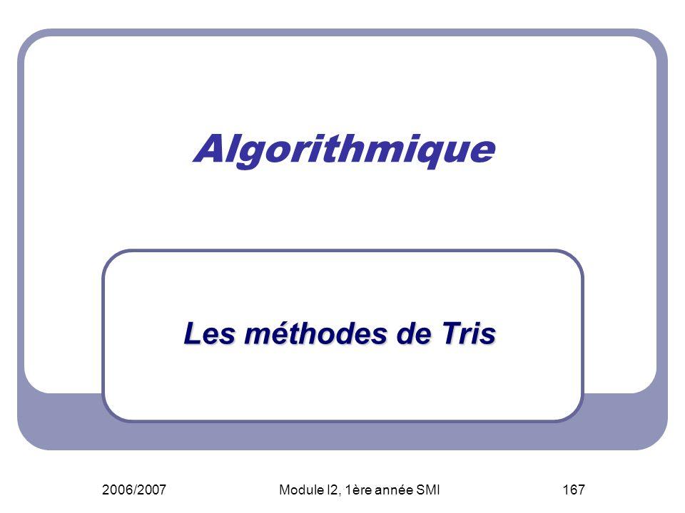 Algorithmique Les méthodes de Tris 2006/2007 Module I2, 1ère année SMI