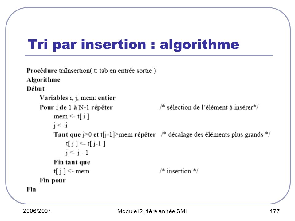 Tri par insertion : algorithme