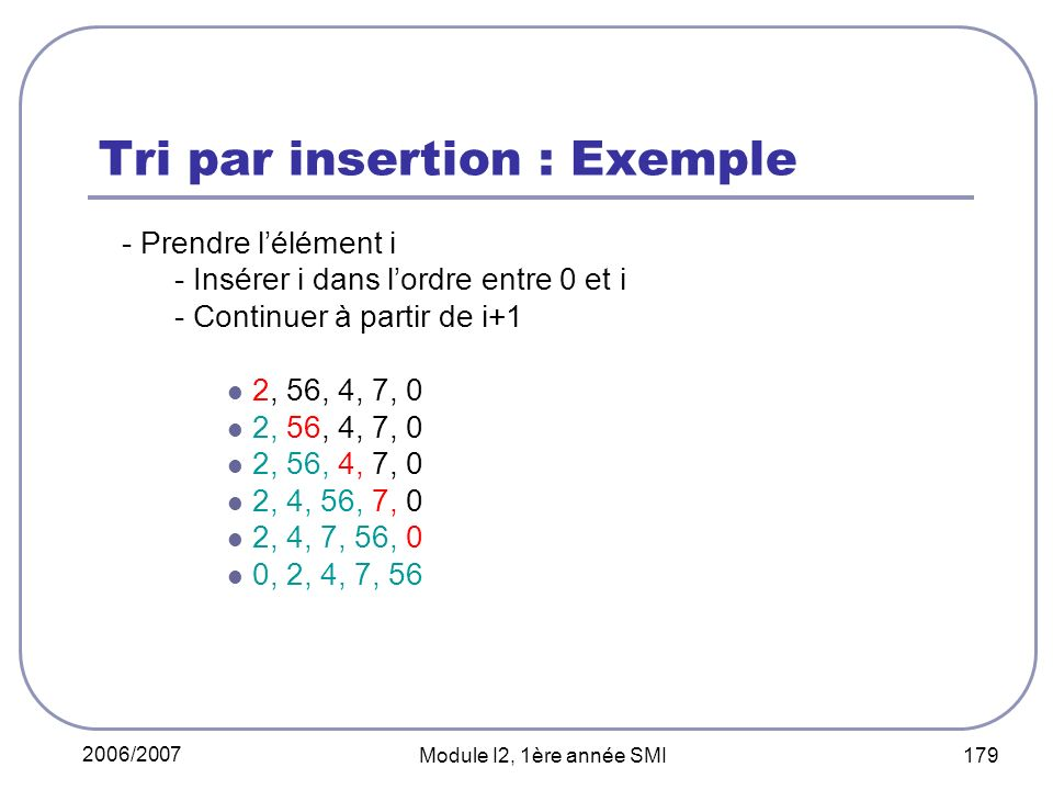 Tri par insertion : Exemple