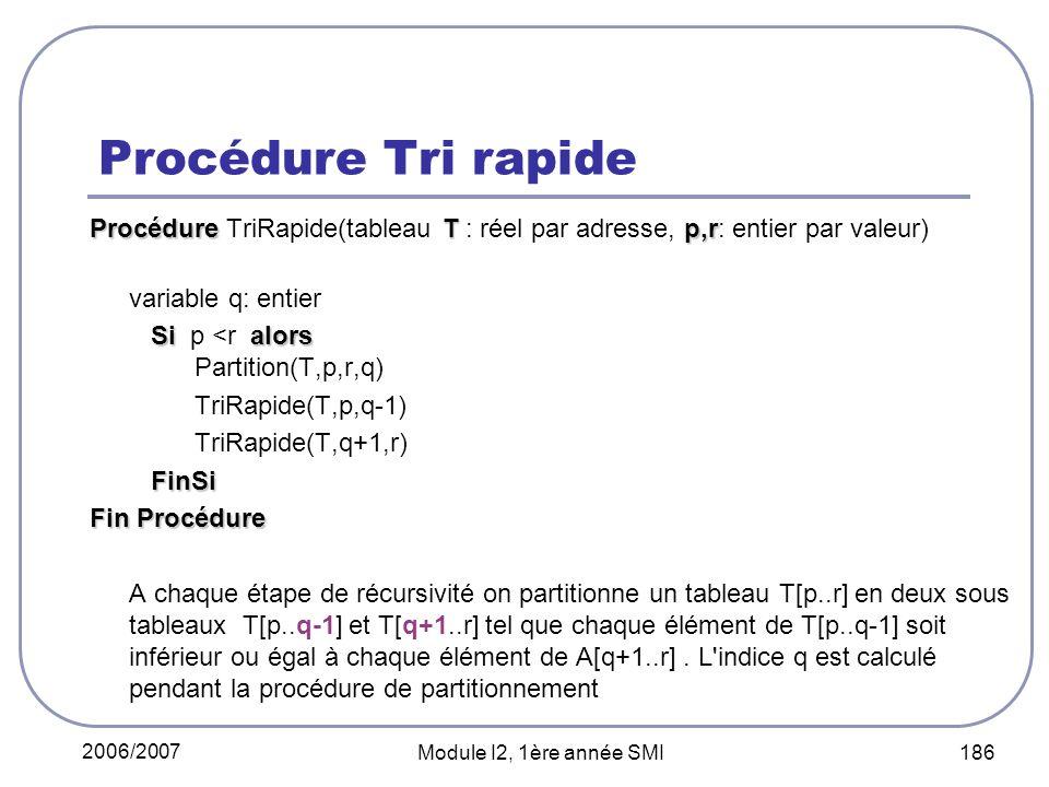 Procédure Tri rapide Procédure TriRapide(tableau T : réel par adresse, p,r: entier par valeur) variable q: entier.