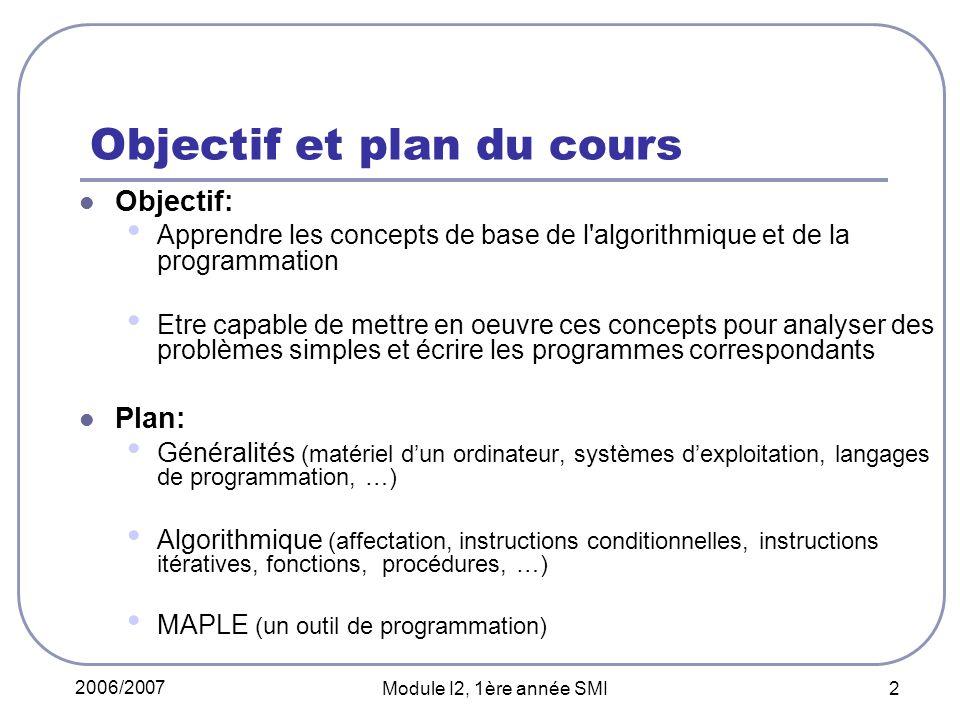 Objectif et plan du cours