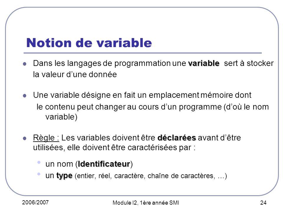 Notion de variable Dans les langages de programmation une variable sert à stocker la valeur d'une donnée.