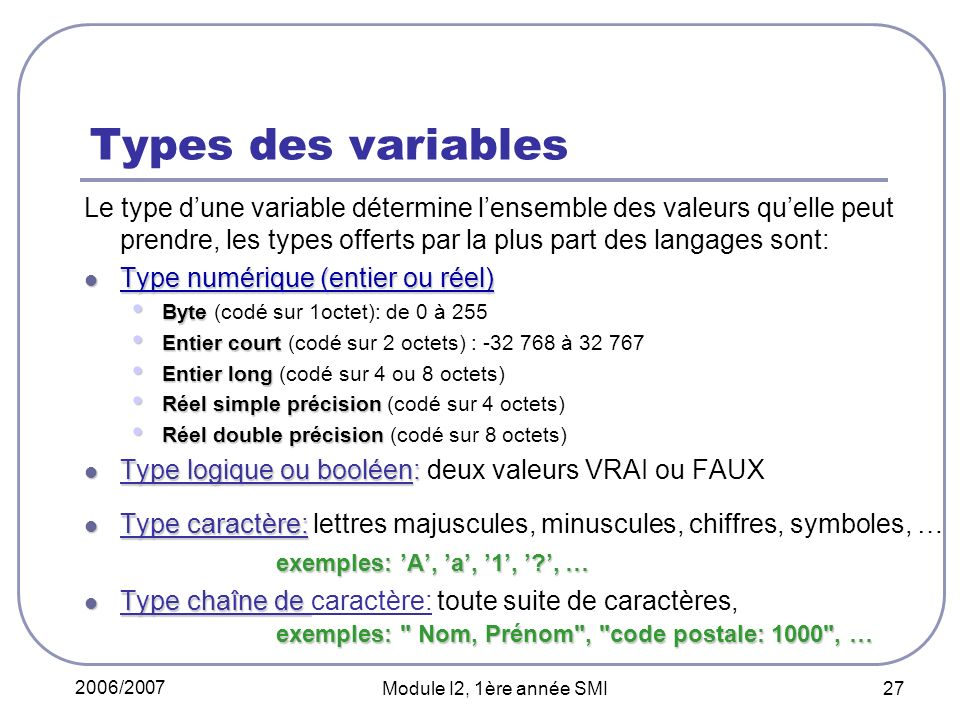 Types des variables