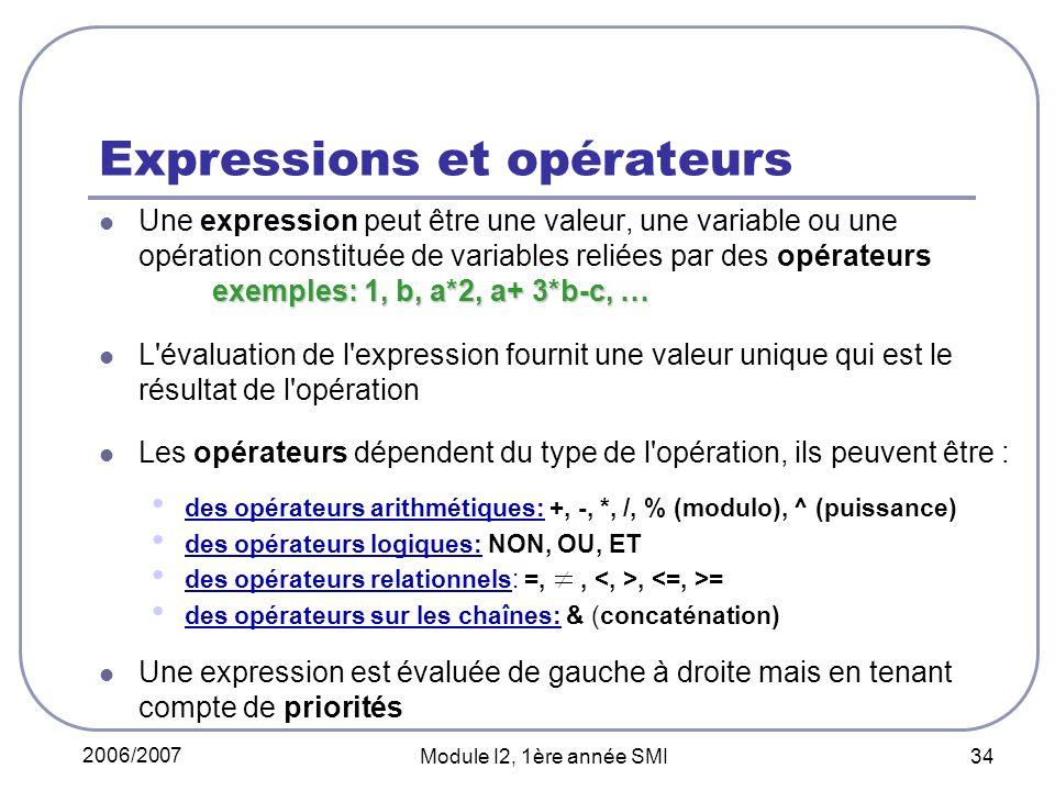 Expressions et opérateurs
